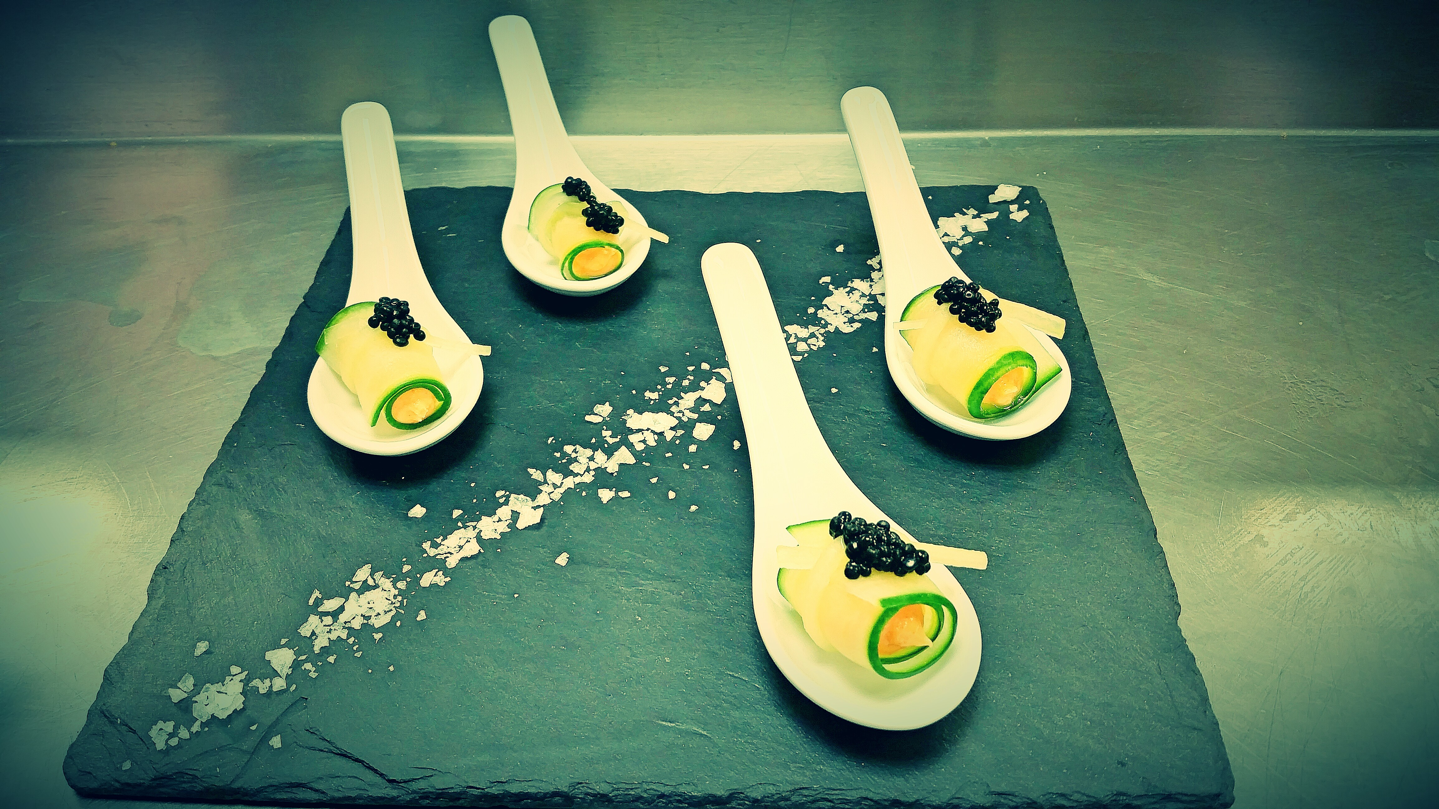 Cucumber roulade with smoked salmon-paprika mousse and caviar, London ...